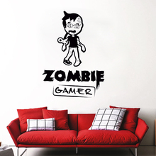 Wall Decal Zombie Gamer Art Mural Video Games Play Sticker Boy Teen Room Decor Removable Vinyl Wallpaper AY945