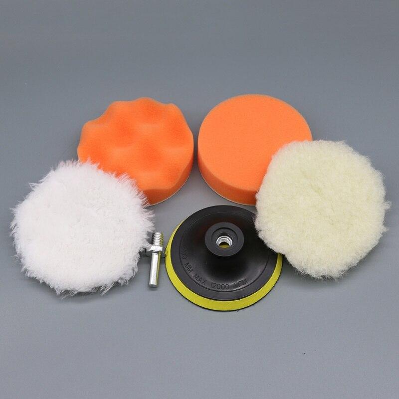 5Pcs Car Accessories High Gross Polishing&Buffer Pad Set +M10 Drill Adapter For Car Polisher A
