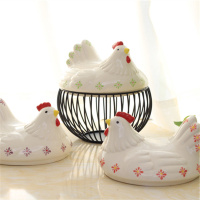 Ceramic Egg Storage Baskets Chicken Wire Creative Hen Oraments Fruit Collection Basket Home Kitchen Storage Organizer Decoration