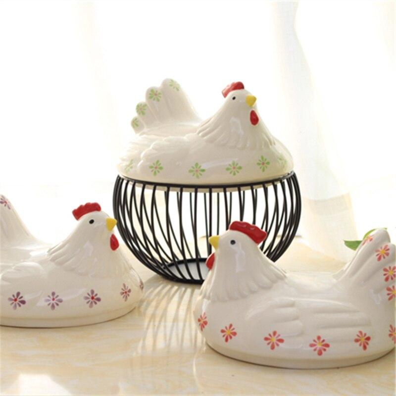 Paniers de rangement d'oeufs en céramique fil de poulet créatif poule Oraments fruits Collection panier maison cuisine rangement organisateur décoration