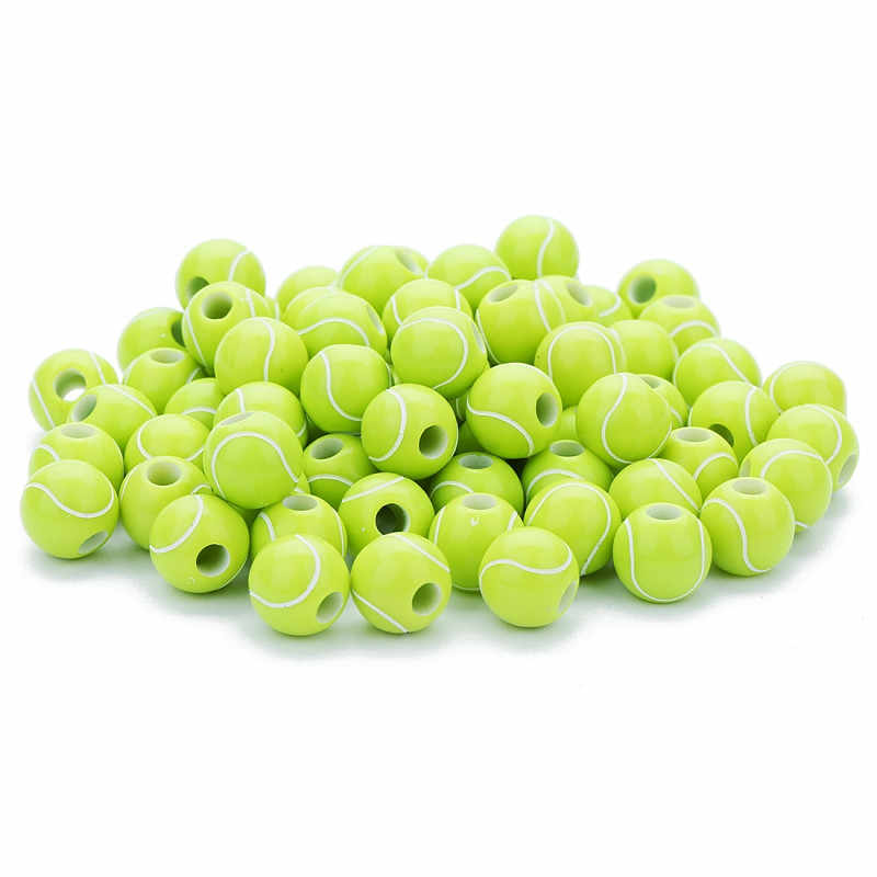 LOT of 50 ALLOY TENNIS BALL GREEN SPACER BEADS JEWELRY MAKING DIY BEADS 10MM