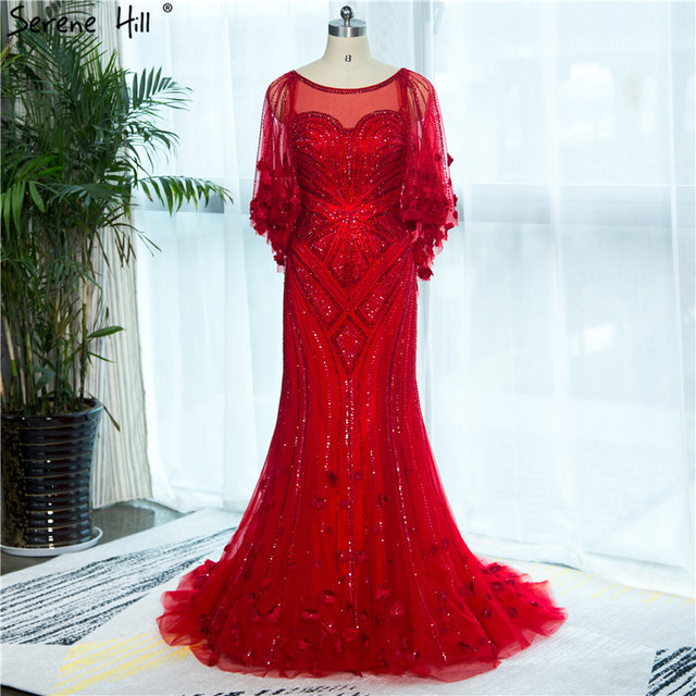 2020 สีแดง Mermaid Elegant ชุดราตรี Real Photo ประดับด้วยลูกปัดคริสตัลแฟชั่นเซ็กซี่ชุดราตรีอย่างเป็นทางการ Real Photo LA6135