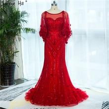 2020 אדום בת ים אלגנטי שמלת ערב תמונה אמיתית ואגלי קריסטל אופנה סקסי פורמליות ערב שמלה LA6135