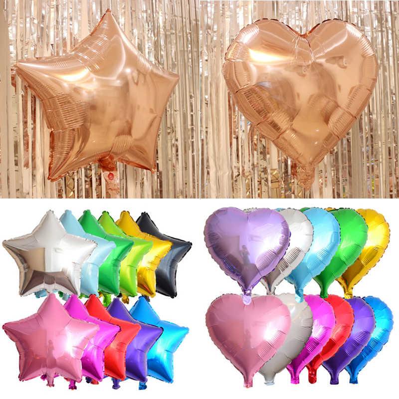 1 pc 18 polegada Partido Do Chuveiro Do Bebê Estrela Balão de alumínio de Prata & Azul Em Forma de Coração Bola De Hélio Festa de Aniversário de Casamento decoração Ballon Do Ar