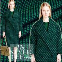 Europa e nos Estados Unidos de mosaico verde escuro tecelagem incenso vento casaco roupas de lã tecido moda de 640 gramas por metro