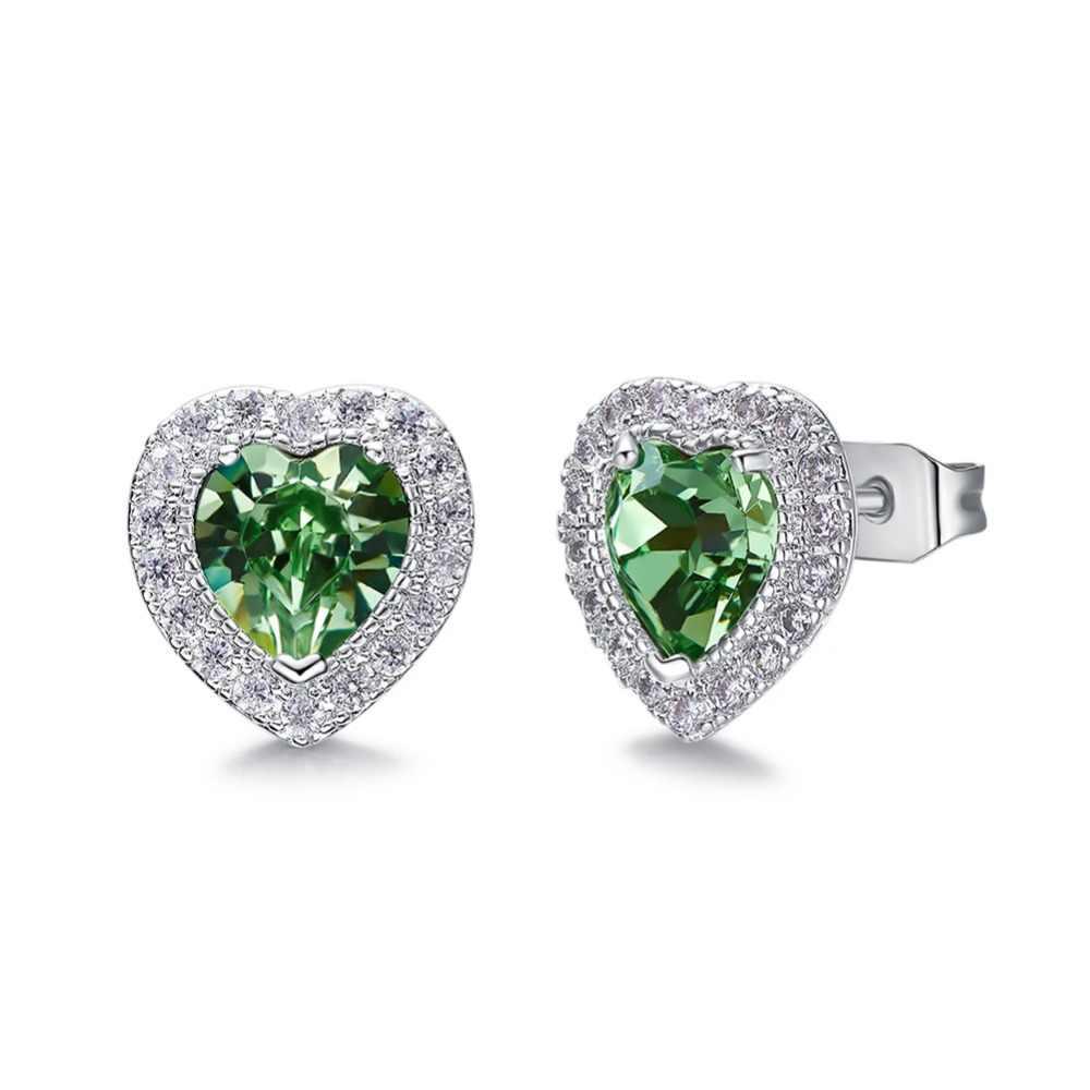 TYTW kryształy z austriackiej mosiądz serce kolczyki dla kobiet Lady Wedding Party 10 Birthstone stadniny kolczyki biżuteria prezent niebieski różowy