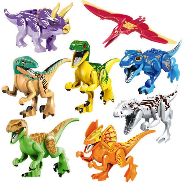 8 pçs/lote Colorido Ensacado Jurassic Dinossauros Animais Kit Modelo de Blocos de Construção Brinquedos Educativos para Crianças Brinquedos dos Presentes Do Natal