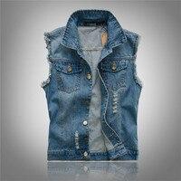 Men'S Fashion Slim Large Size Menswear Denim Vest Hole Casual Trends Waistcoat Vest Plus Size S M L XL XXL XXXL 4XL 5XL 6XL 70E