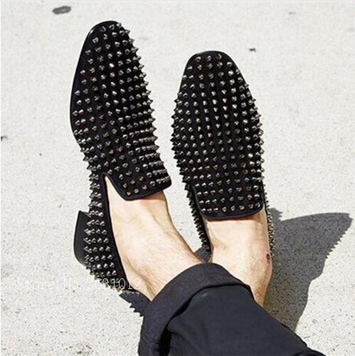 Fashion Top Quality Black/Gold Rivets Studded Men Casual Shoes Slip on Loafers Male Flats Dandelion Party Shoes men size 38-47 fashion tassels ornament leopard pattern flat shoes loafers shoes black leopard pair size 38