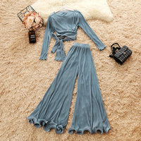 2018 autumn new female O neck long sleeve lace up shirts sold color high waist Chiffon flare trousers suit women's 2 piece sets