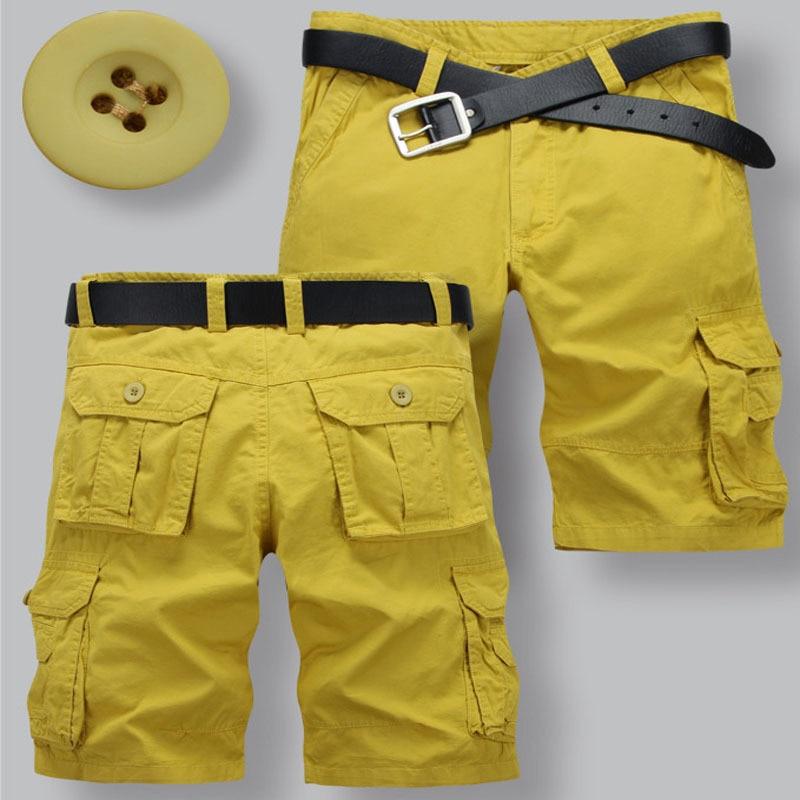 Mens Yellow Cargo Shorts