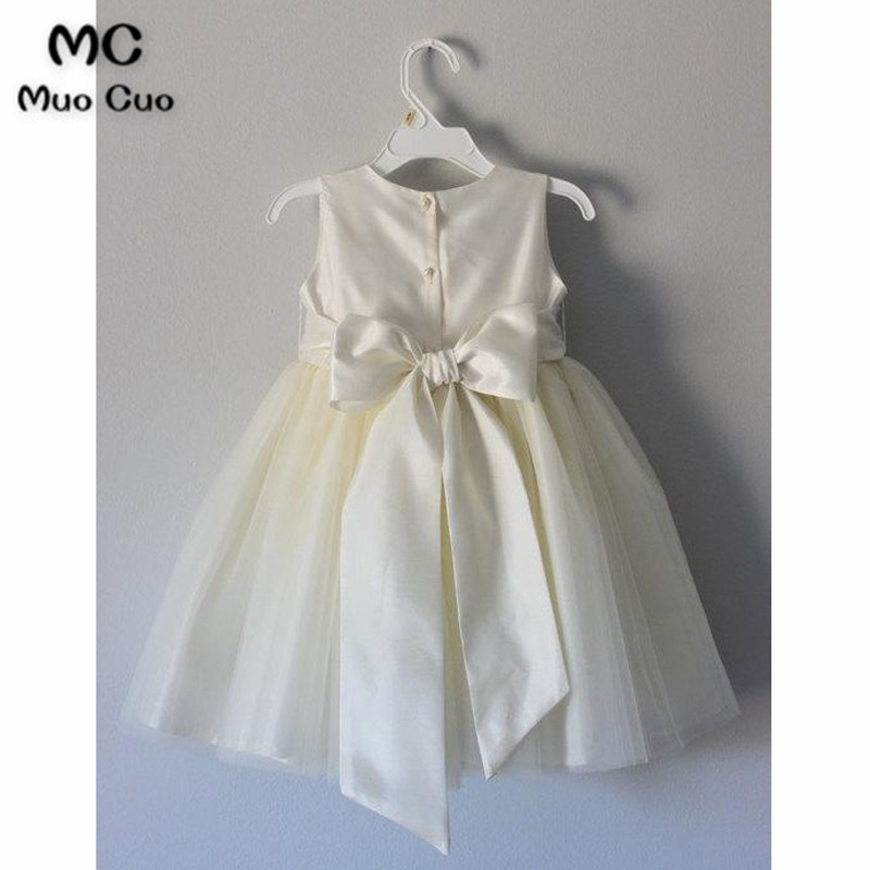 2018 puffy   dresses   for kids A beauty pageant   dress   vestido de daminha   girls   pageant Bow Ribbon Communion   Flower     Girl     Dresses