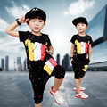 Free shipping 2016 new arrive Colourful print children boy clothing set suit kids boy summer casual 100% cotton clothes set