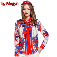 2016 Winter Spring Women Shirts Long Sleeve Floral Print Female Casual Loose Blouses With Necktie Plus