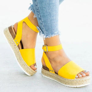 Image 2 - 2020 Summer Womens Casual Espadrilles Trim Rubber Sole Flatform Studded Wedge Buckle Ankle Strap Open Toe Sandals