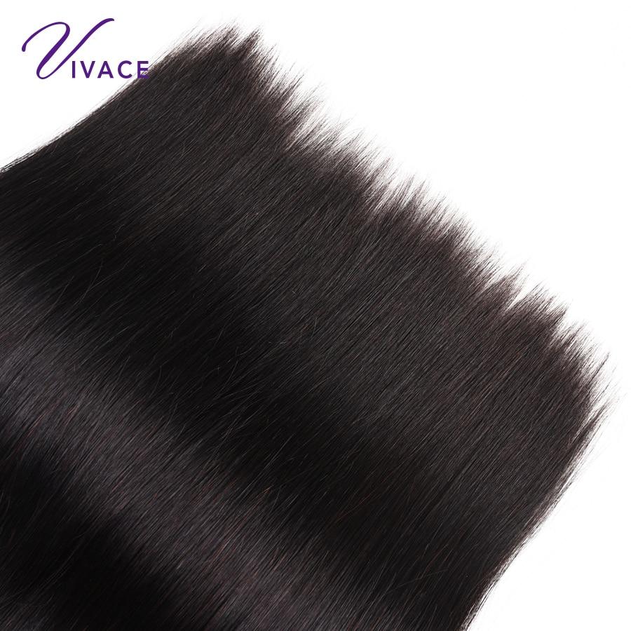 Vivace Hair Brasilian Straight Human Hair 4 Bundles 100% Hår Väv - Mänskligt hår (svart) - Foto 5