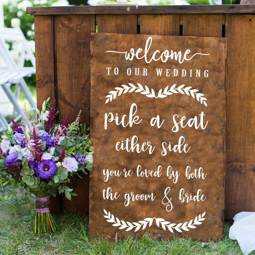 Welcome Sign Room Decoration Vinyl Art Design Wedding Decoration Vinyl Art Removable Poster Mural LY1655 in Wall Stickers from Home Garden