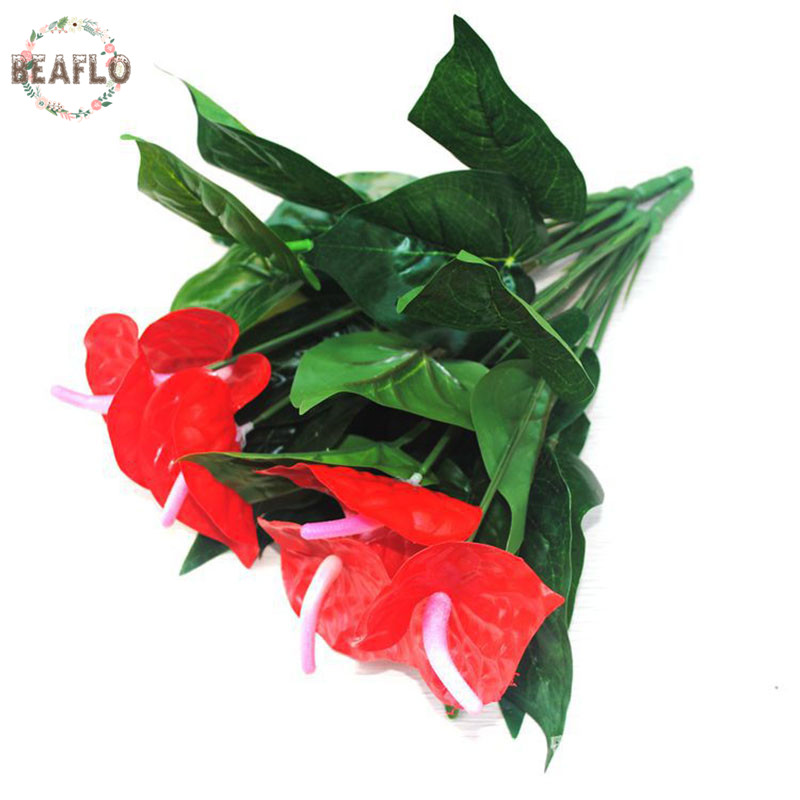 1Bunch Bouquet Lule artificiale Fake Anthurium Bonsai Aranzhimi i - Furnizimet e partisë - Foto 2