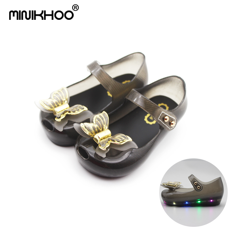 Mini Melissa (With LED) 2017 Mini Jelly sandals flash lights LED girl shoes bow Princess shoes butterfly girl shoes sandals