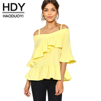 HDY Haoduoyi Women Fashion Summer Solid Yellow Tops Sweet Cold Shoulder Halter Blouse Ruffles Flare Sleeve