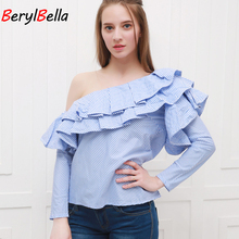 BerylBella Women Tops Off Shoulder Ruffles Blouse Shirt 2016 Autumn Casual Long Sleeve Blue Striped Blouses Winter Blusas