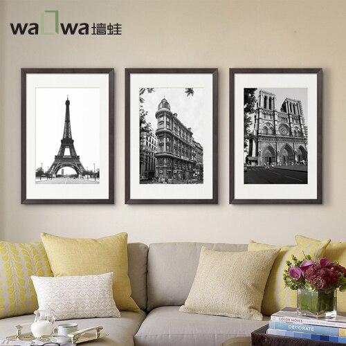 Le mur de la tour Eiffel grenouille bâtiment français moderne minimaliste noir et blanc triptyque peinture peintures murales peinture décorative roo