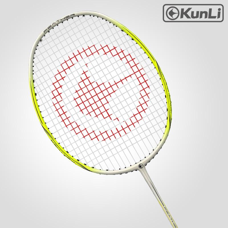 Raquette de badminton officielle KUNLI originale 4U plume K300 jaune attaque Ultra légère professionnelle en carbone pour joueur d'attaque