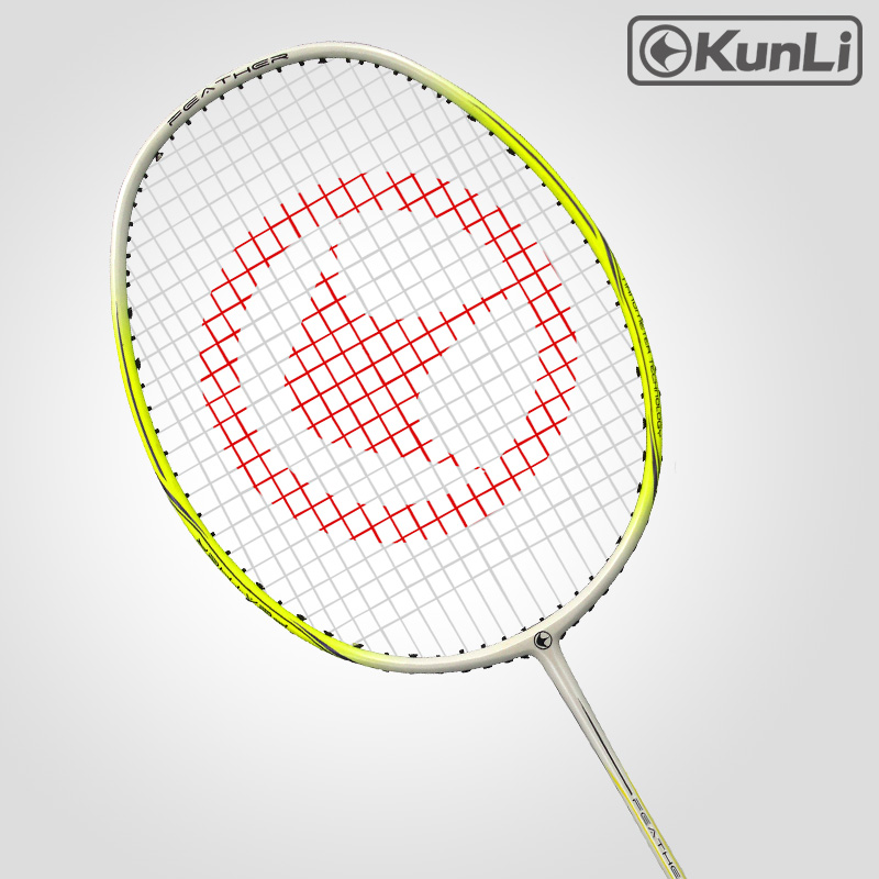 Original KUNLI Official Badminton Racket 4U FEATHER K300 Yellow Ultra Light Attack Full Carbon Professional For Attacking Player
