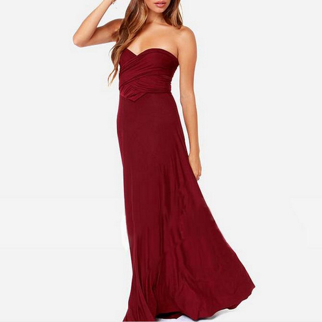 Multiway Wrap Convertible Boho Maxi Club Red Dress 3