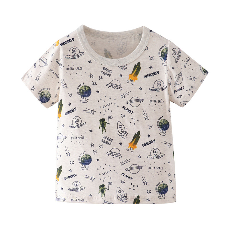 Jumping Meters Boys Girls Space Tees Top Cotton Summer Children Kid Girls Boys Rocket Letter Print T-shirt Tops Baby Shirts Tee