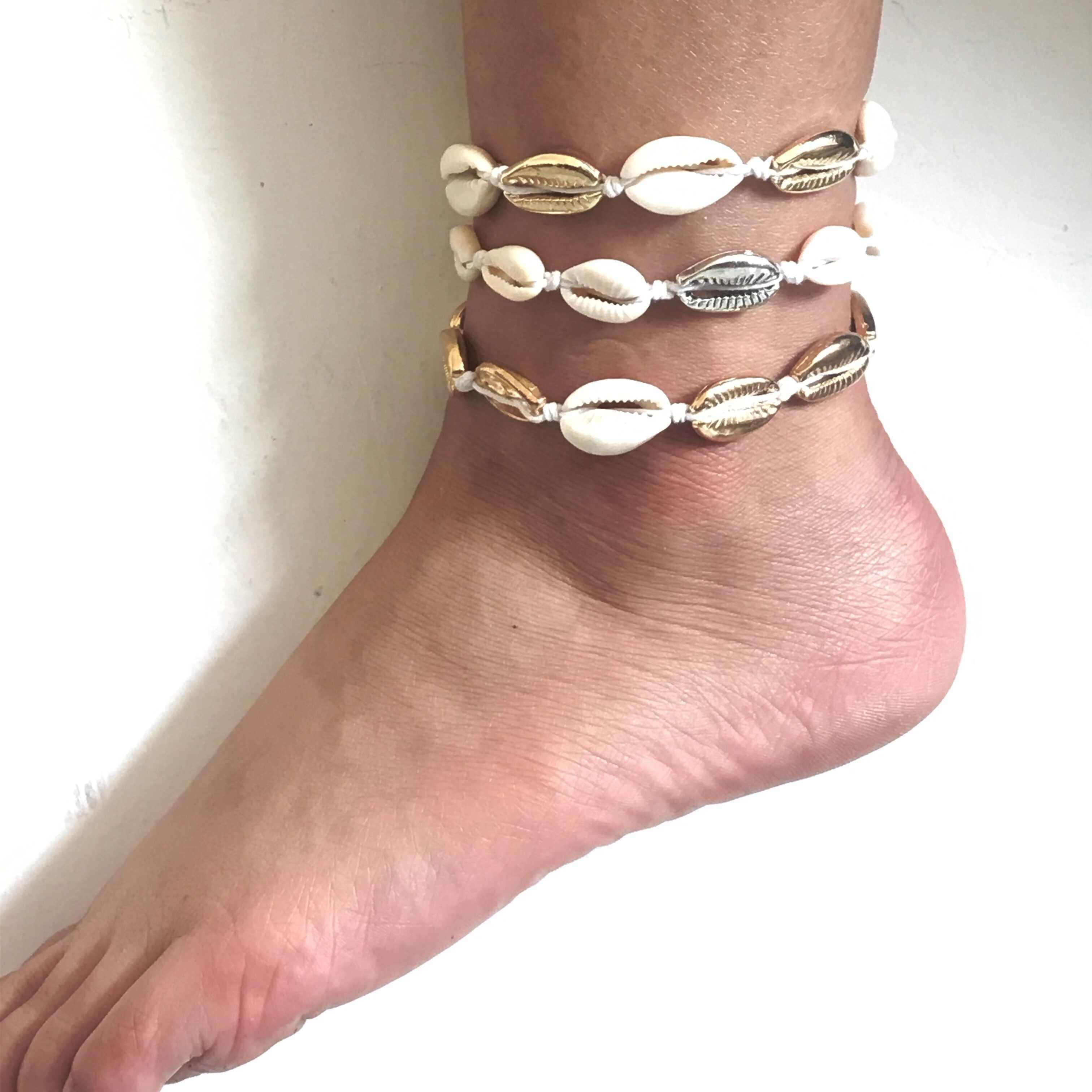 Anklets สำหรับผู้หญิง shell เครื่องประดับฤดูร้อนชายหาดสร้อยข้อมือข้อเท้าขาข้อเท้าโบฮีเมียนอุปกรณ์เสริมเชลล์ anklets