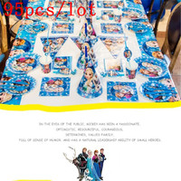 High Quality Disney Frozen Paper Cup Plate Napkin Gift Bag Kid Girl Birthday Toy Noise Maker Banner Decoration Supply 95Pcs/lot