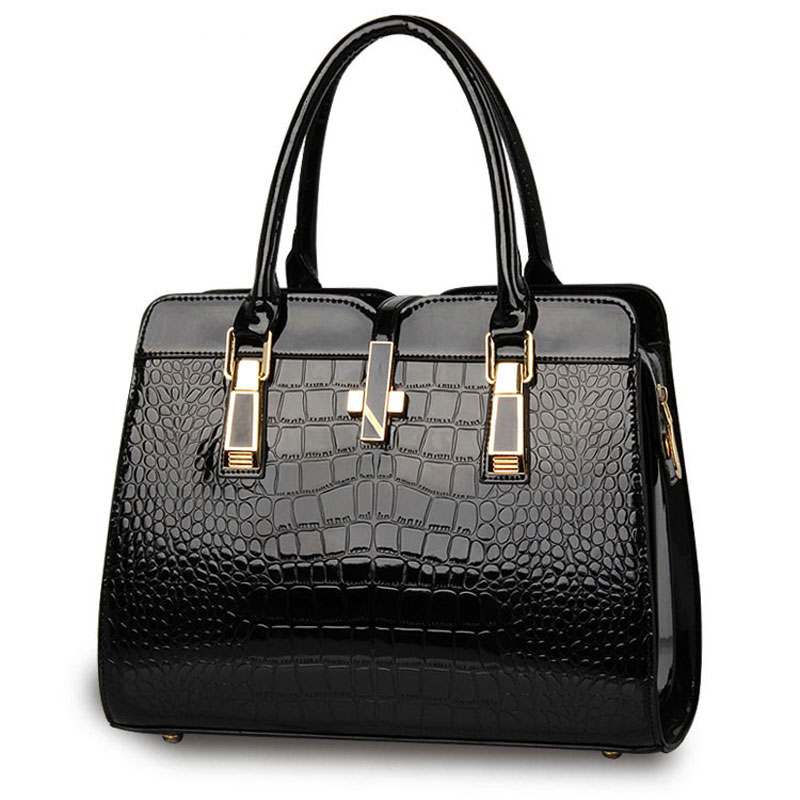 ФОТО Luxury and Designer women big tote bags crocodile pattern patent leather handbag female shoulder bags messenger bag for girl
