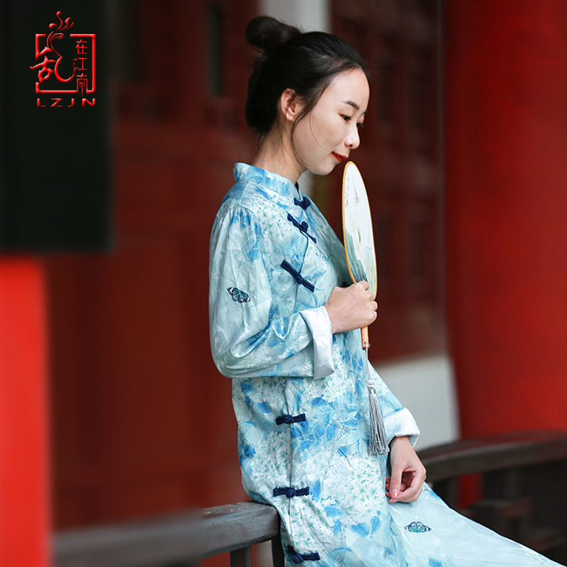 LZJN femmes traditionnel chinois Style robe 2019 printemps été robe Qipao Long Vintage Slim Fit élégance Cheongsam femmes robe