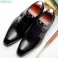 QYFCIOUFU/2019; Брендовые мужские лоферы с пряжкой; свадебные модельные туфли; Повседневная модная мужская обувь без застежки из натуральной кожи