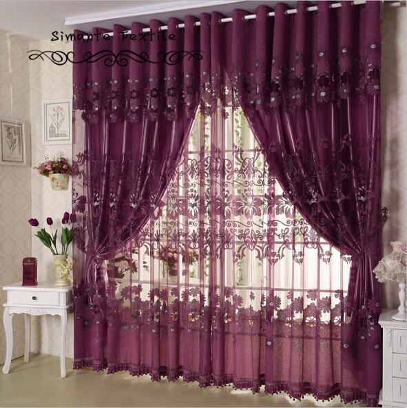 Us 72 08 25 Off Napearl Quality Flower Purple Curtain Fashion Modern Brief Sheer With Blackout Lining Curtains Free Shipping In