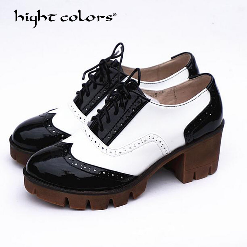 a6b7aa950 Высота цветов Ретро британский стиль Большие размеры 34–41 женская обувь на  платформе женские броги