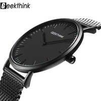 Ultra cienkie zegarki kwarcowe męskie w stylu casual, czarny japonia zegarek kwarcowy ze stali nierdzewnej drewniany zegar twarzy mężczyzna Relogio Masculino nowy