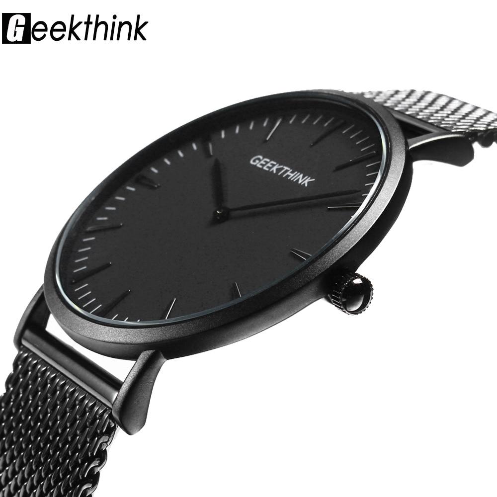 Ultra thin Quartz Watches Mens Casual Black Japan quartz watch stainless steel Wooden Face clock male