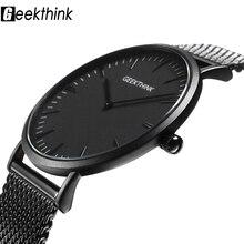 Ultra thin Quartz Watches Mens Casual Black Japan quartz-wat