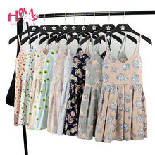 Summer Japanese Beach Party Dress Women Floral Cute Pleated Strap Mini Dresses Lady 2017 Cotton Femme Suspender Short Vestidos