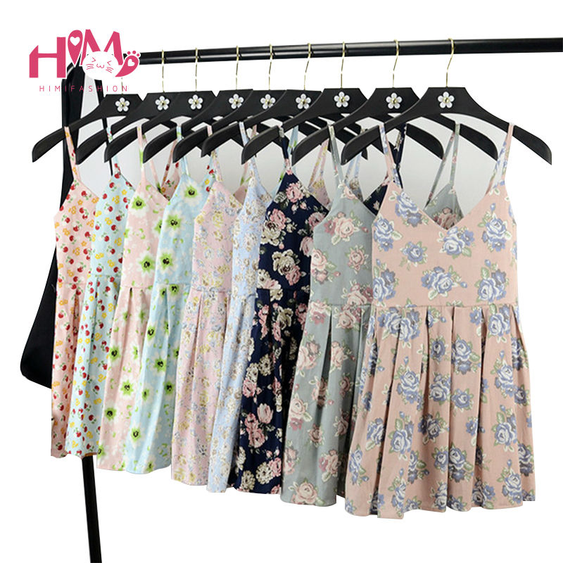 Summer Beach Sleeveless Dress Women Floral Print Cute Pleated Gallus Dresses For Ladies V Neck Cotton