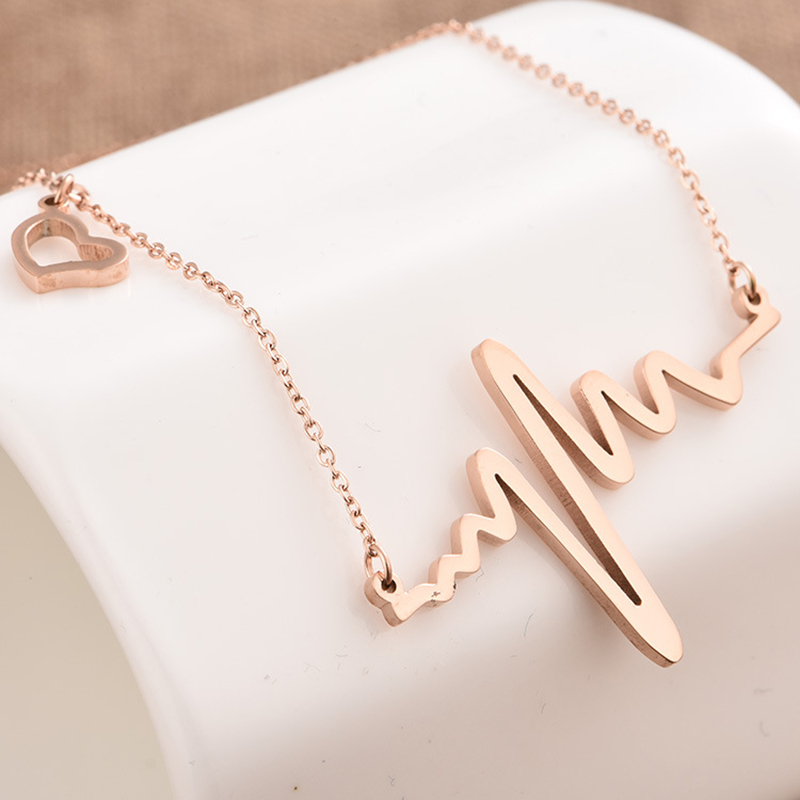 2017 fashion simple wave heart necklaces pendants heartbeat 2017 fashion simple wave heart necklaces pendants heartbeat steampunk collares vintage lightning necklace for women girls aloadofball Images