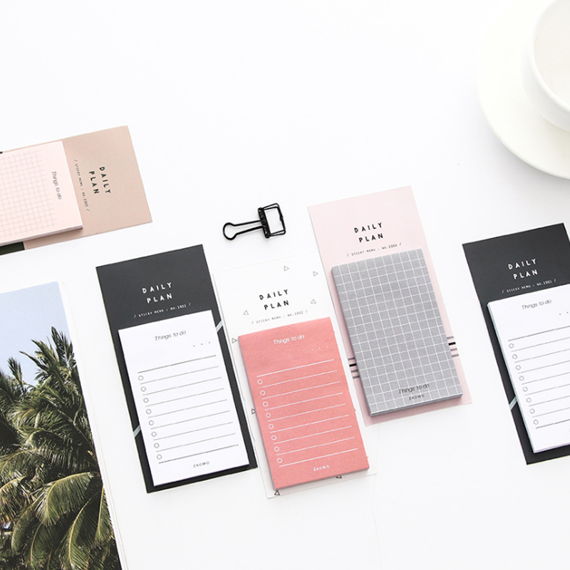 1 Pcs Simple Easy-use Daily Memo Pad To Do List Sticky Notes Planner Grid Sticker Book Marker Stationery Office School Supplies 1pc a4 schedule organizer check list week planner sticker sticky note memo pad
