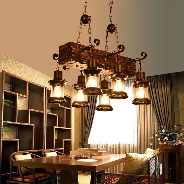 American retro, industrial wind, cafe, wood chandelier, LOFT country personality, solid wood decorative Chandelier