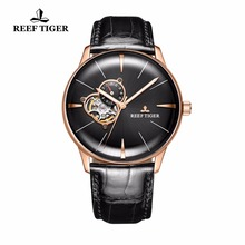 цена Reef Tiger/2019 Mens Dress Watch Top Brand Luxury Automatic Watch Genuine Leather Strap Rose Gold Analog Watches RGA8239 онлайн в 2017 году