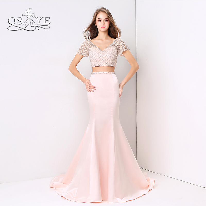 QSYYE 2018 Pink Mermaid Long Prom Dresses Fashion Two Piece Full Beaded Top Sweep Train Satin Formal Evening Party Gown Custom