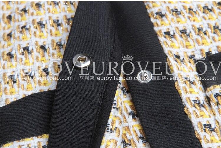 Femelle Haute Fil À Blazer skirt Top Longues Nouvelle D'or Blazer Printemps Weaven Femmes Survêtement Arrivée Automne Qualité Manches Manteau Ygbfy67
