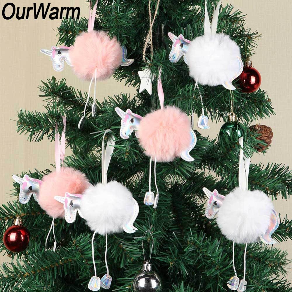 Christmas Horse Pictures.Us 10 49 30 Off Ourwarm 10pcs White Pink Fluffy Unicorn Christmas Ornaments Fur Ball Pom Pom Horse Hanging Pendant Christmas Tree Decoration In