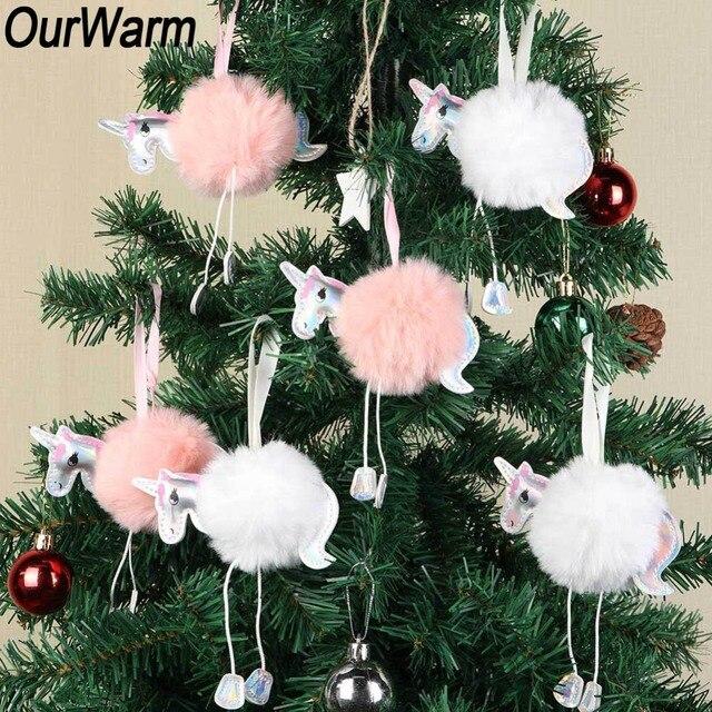 bc1d86f7ec0 OurWarm 10Pcs White Pink Fluffy Unicorn Christmas Ornaments Fur Ball Pom  Pom Horse Hanging Pendant Christmas Tree Decoration